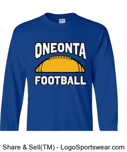 Oneonta Football Long Sleeve T-Shirt- Royal Design Zoom